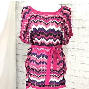 Cache Chevron Striped Belted Knit Top